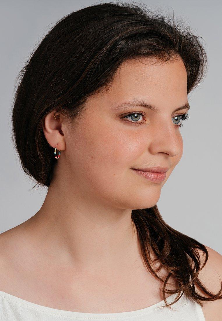 FOLKDAYS - Earrings - gold mit bunten glasperlen