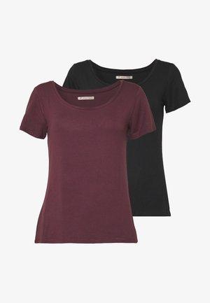 2ER PACK  - Basic T-shirt - burgundy_black