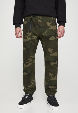 Kalhoty - mottled dark green
