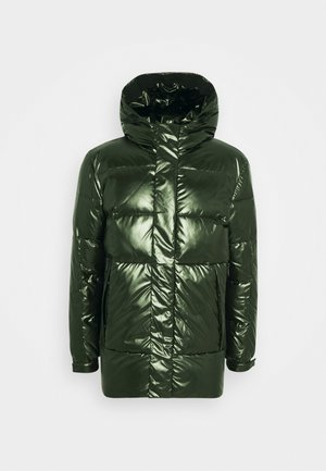 OILY METALLIC MID LENGHT JACKET - Down coat - dark olive