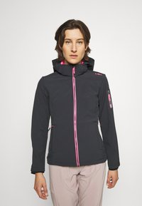 CMP - WOMAN JACKET ZIP HOOD - Giacca softshell - antracite/pink fluo - 0