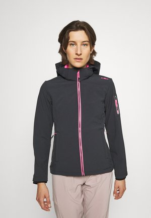 WOMAN JACKET ZIP HOOD - Soft shell jacket - antracite/pink fluo