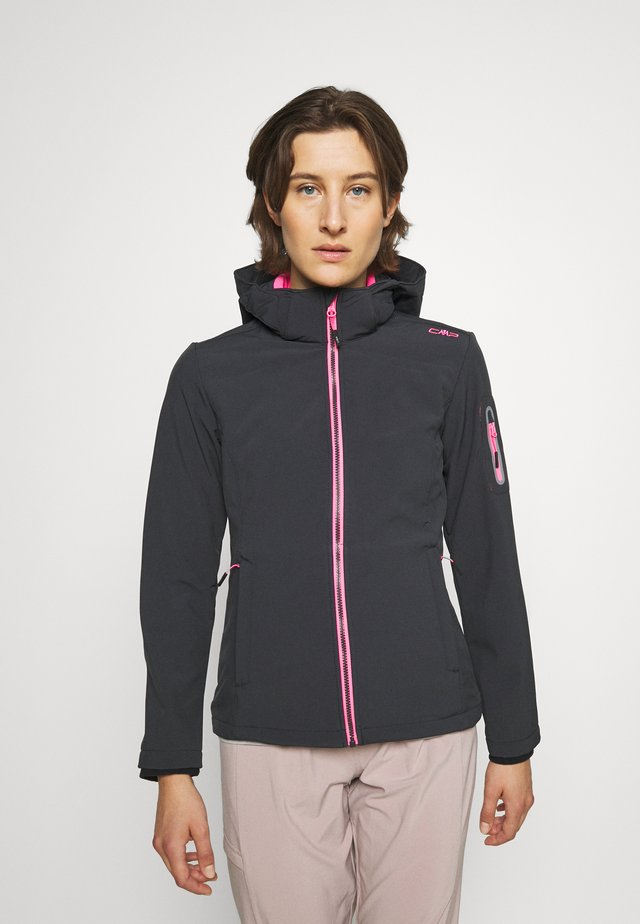 WOMAN JACKET ZIP HOOD - Giacca softshell - antracite/pink fluo