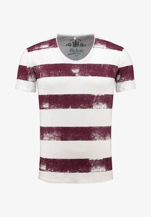 MT AIRFLIGHT - Print T-shirt - offwhite-bordeaux