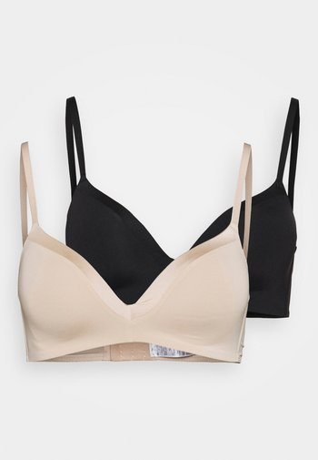 2 PACK - T-shirt bra - black/nude
