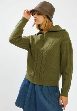 MIT REISSVERSCHLUSS AM KRAGEN - Pullover - grün