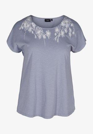 T-shirt print - silver flower