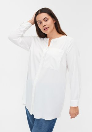 SOLID COLOURED  WITH BREAST POCKET - Button-down blouse - warm off white