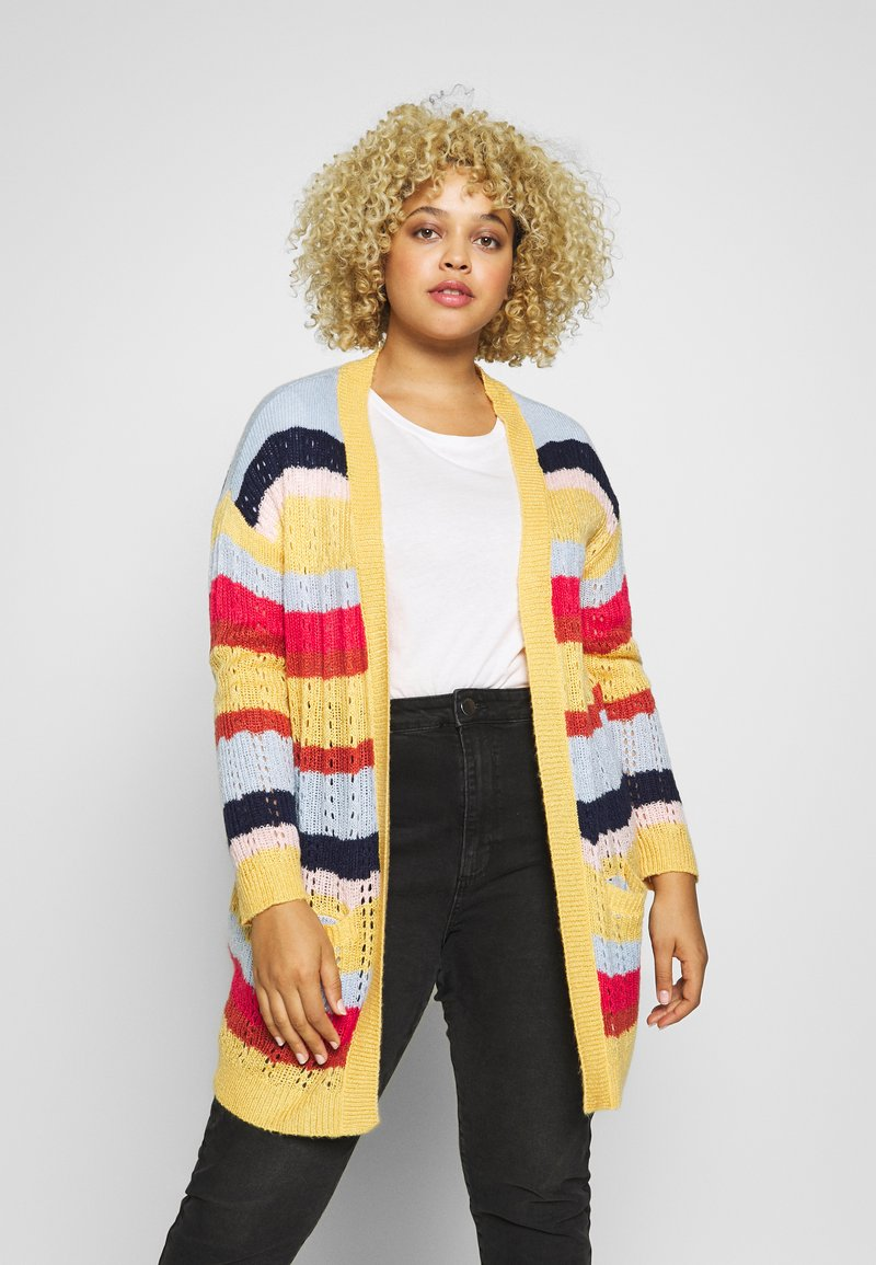 ONLY Carmakoma - CARMETA LONG - Cardigan - hot sauce/multicolour stripe