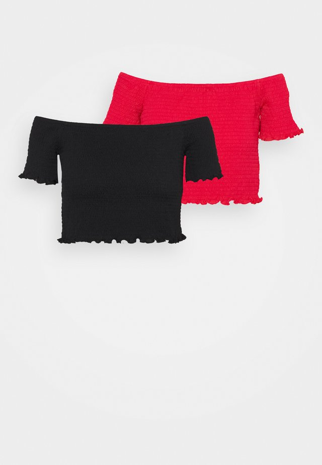 BARDOT 2 PACK - Basic T-shirt - black/red