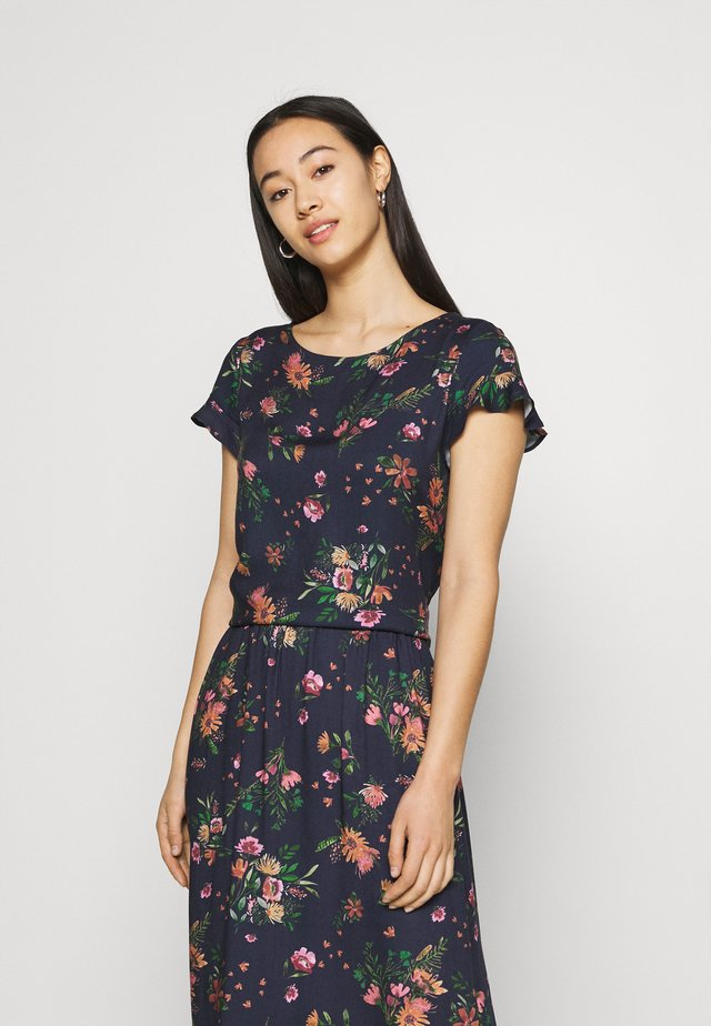 VIBILLY FLOWER - T-shirts print - navy blazer/red
