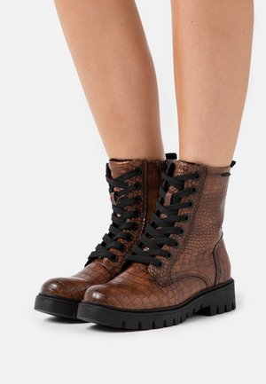 Lace-up ankle boots - mokka