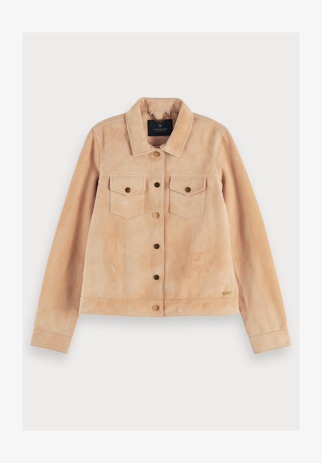 Fitted soft  - Leather jacket - apricot