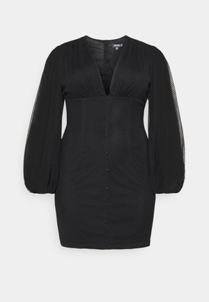 BUTTON THROUGH MINI DRESS - Day dress - black