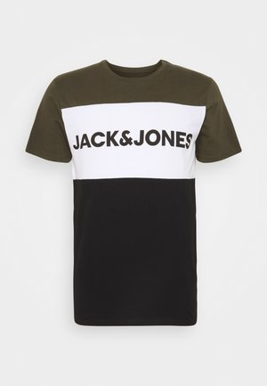 JJELOGO BLOCKING TEE - T-shirt print - forest night