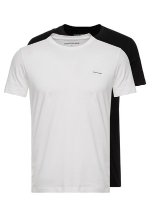 SLIM FIT 2 PACK - Basic T-shirt - bright white/black beauty