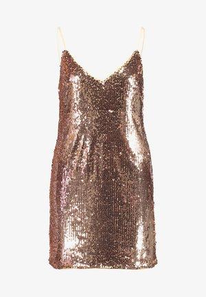 SEQUIN SPAGHETTI STRAP MINI DRESS - Vestido de cóctel - gold