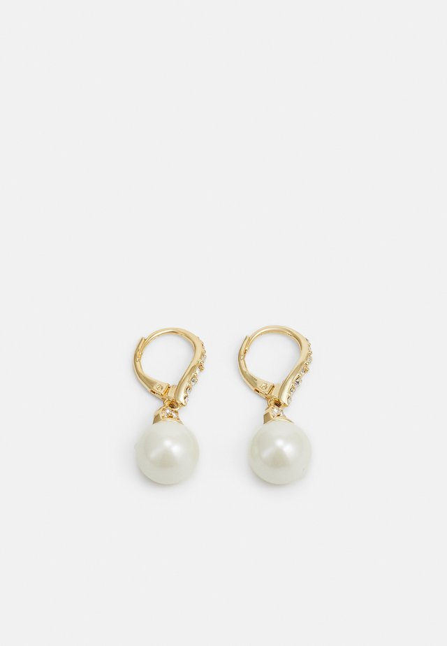BASIC DROP - Earrings - gold-coloured/white