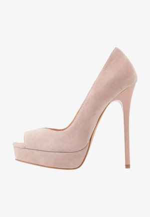 LEATHER - Peeptoe heels - nude