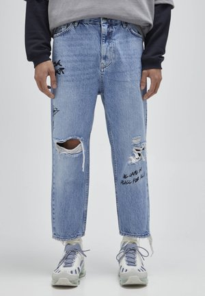 Jeans baggy - mottled dark blue
