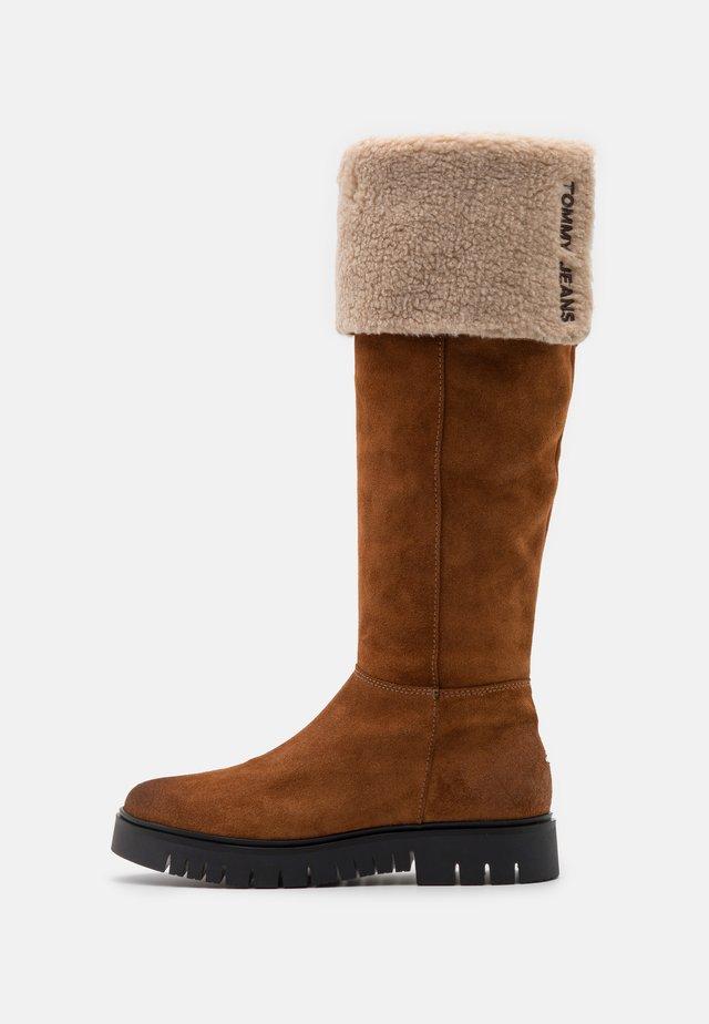 WARM LINED LONG BOOT - Boots - winter cognac