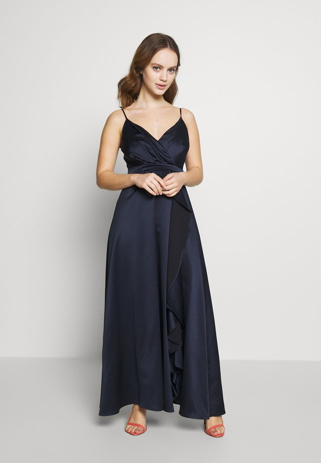 ISSY CAMI RUFFLE SPLIT MAXI DRESS - Galajurk - navy