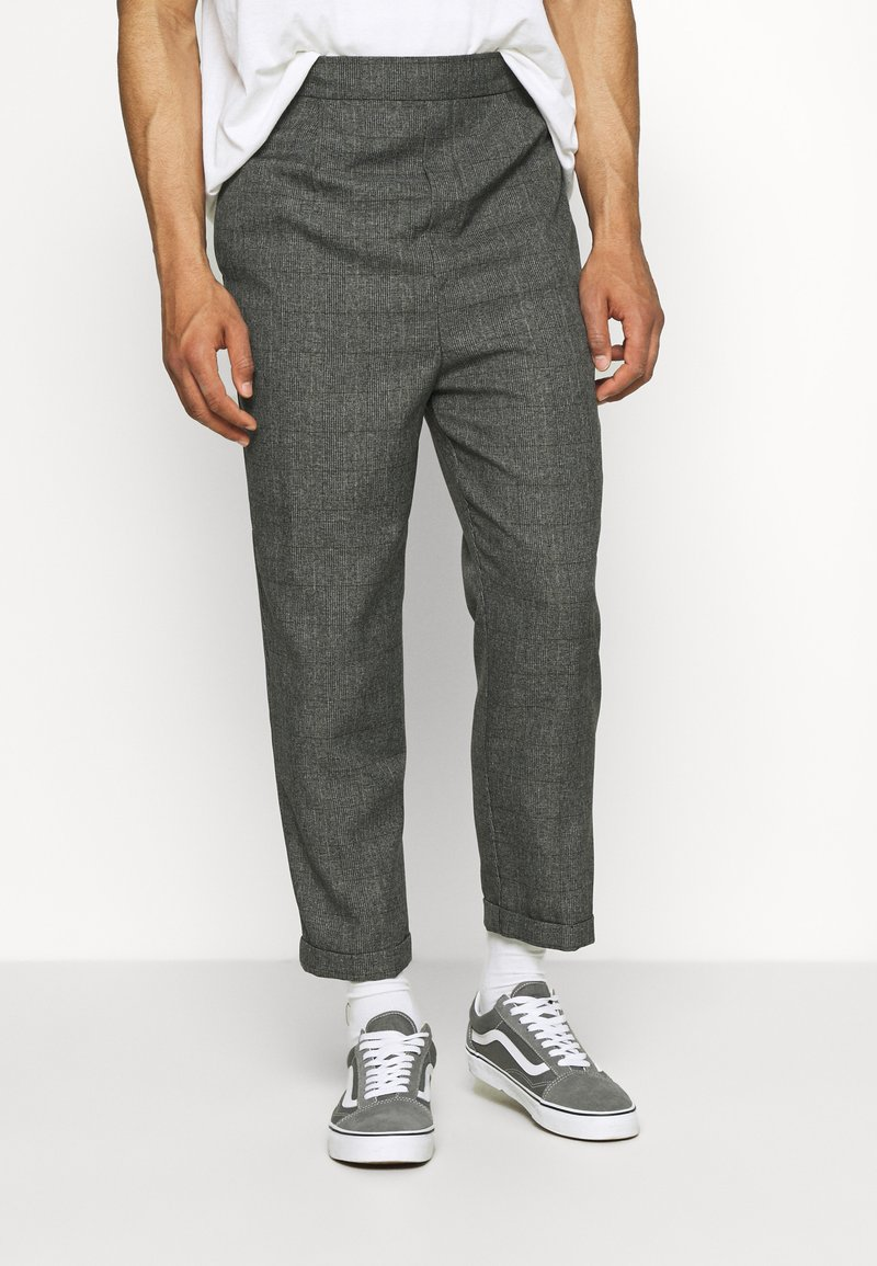 Vintage Supply - CASUAL CHECK TROUSER - Trousers - black