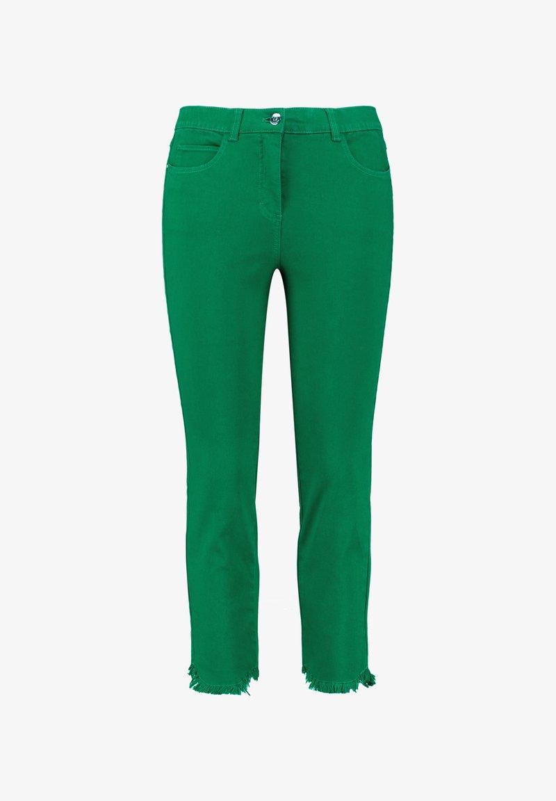 Samoon - MIT FRANSENKANTEN - Slim fit jeans - basil green