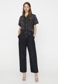 PULL&BEAR - Button-down blouse - dark grey - 1