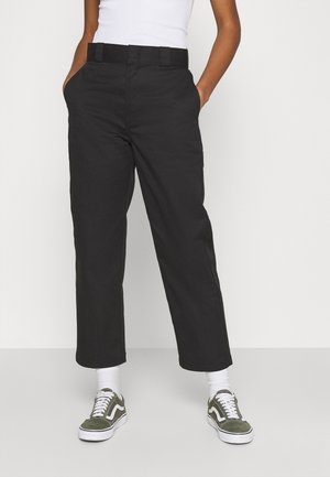 CROPPED - Trousers - black