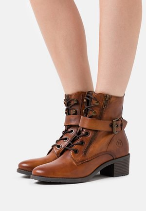 RUBY - Lace-up ankle boots - cognac