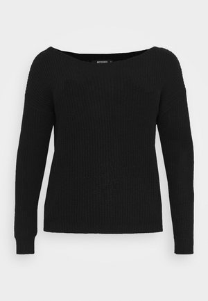 OFF THE SHOULDER JUMPER - Stickad tröja - black