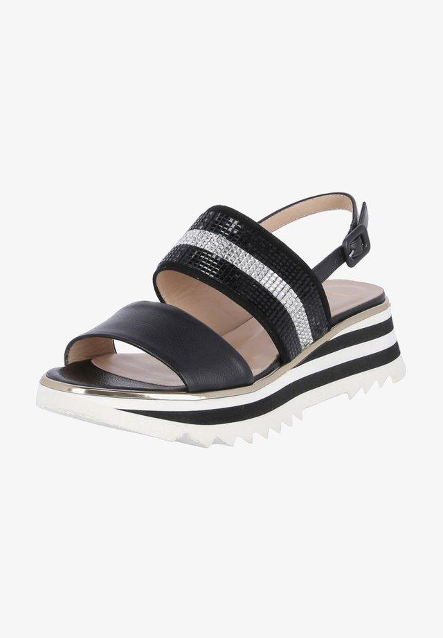 Wedge sandals - schwarz kombi
