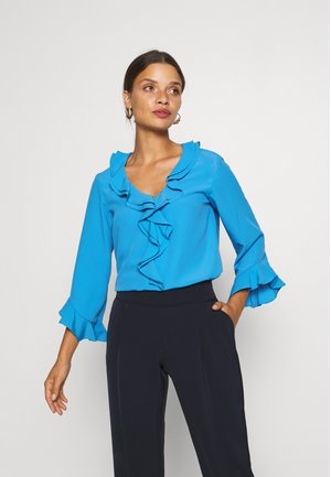 RUFFLE FRONT - Blouse - blue