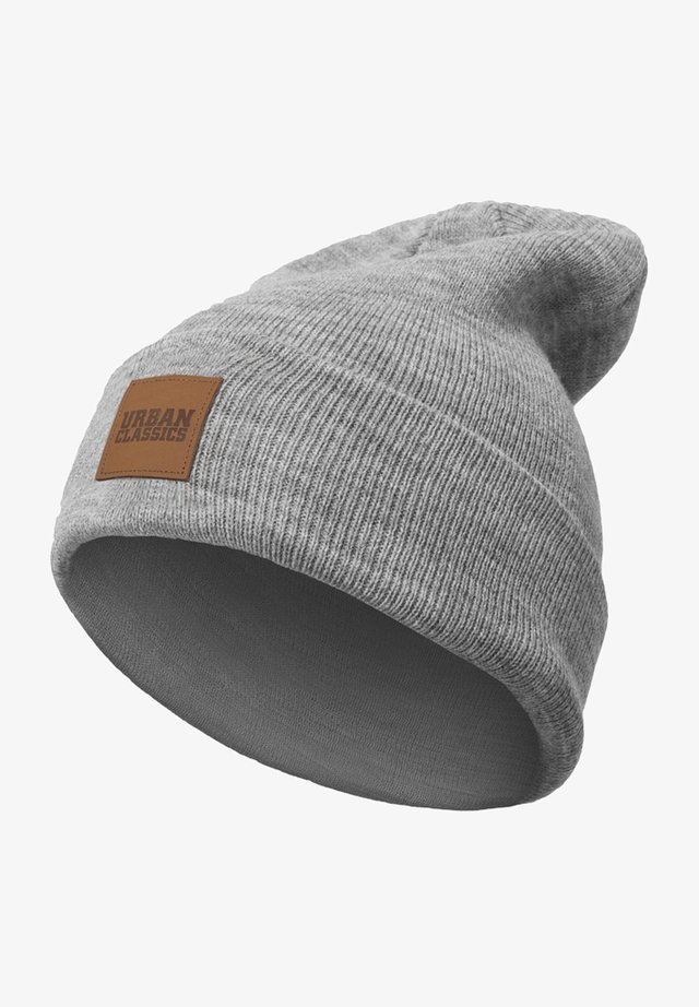 LEATHERPATCH LONG - Beanie - grey