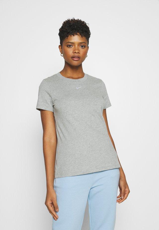 TEE CREW - Jednoduché triko - dark grey heather/white