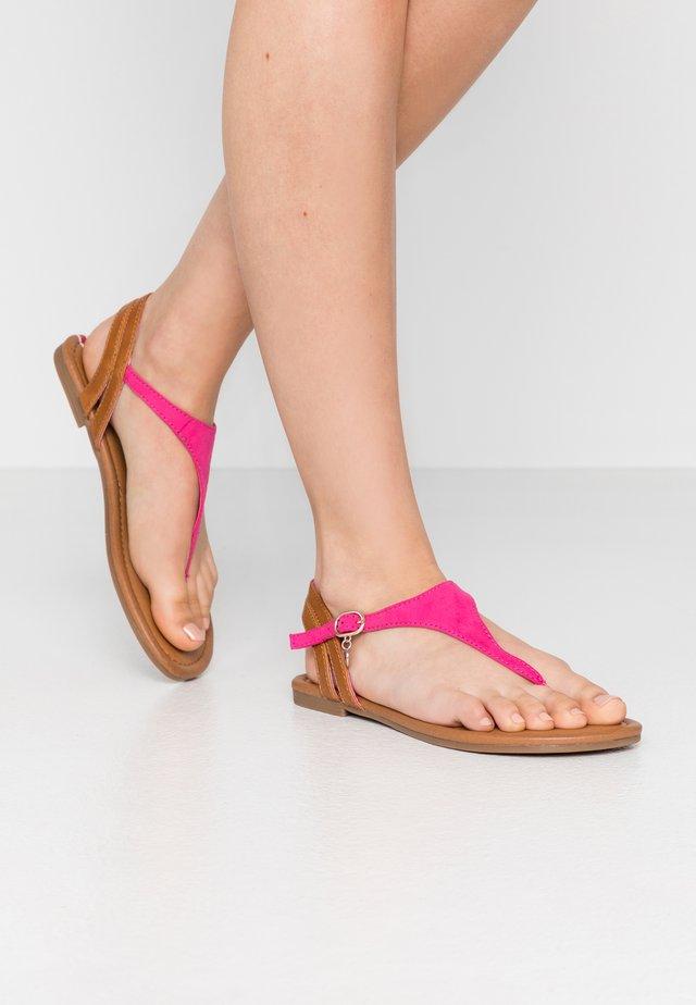 T-bar sandals - fuxia/cognac
