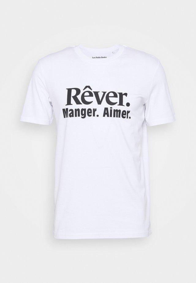 REVER MANGER AIMER UNISEX - Printtipaita - white/black
