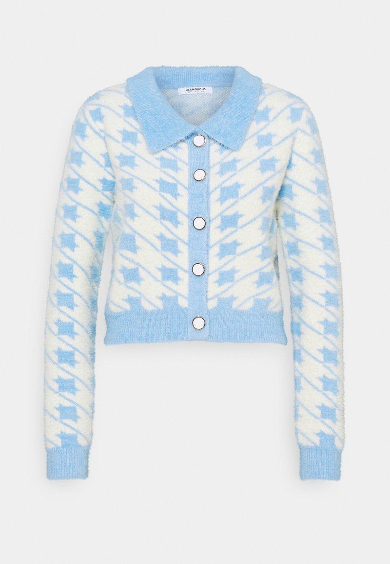 Glamorous - HOUNDSTOOTH CARDIGAN - Jumper - blue/cream multi