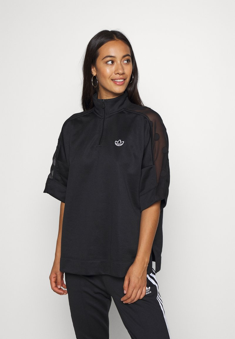 adidas Originals - QUARTER ZIP - T-shirt z nadrukiem - black