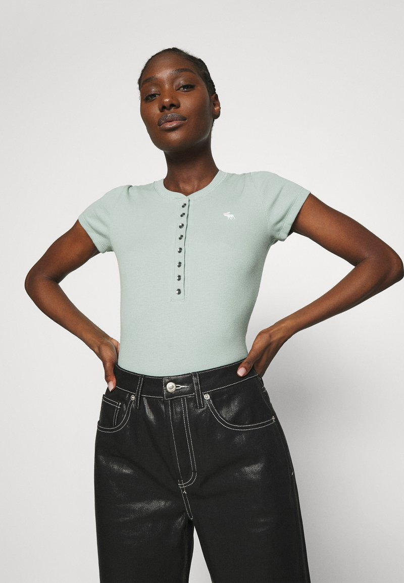 Abercrombie & Fitch - HENLEY - T-shirt basic - green