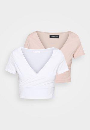 2 PACK - Print T-shirt - white/pink