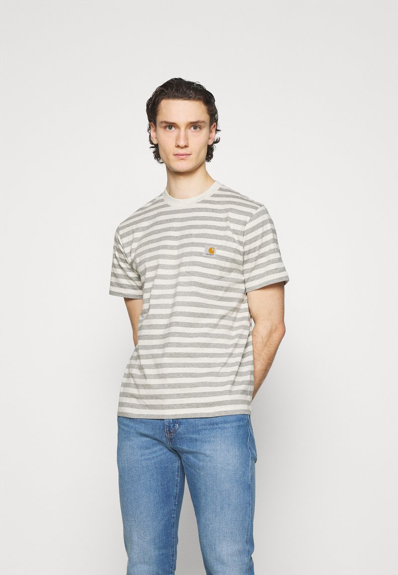 Carhartt WIP - SCOTTY POCKET - Print T-shirt - white heather/grey heather