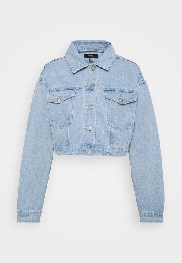 COLOURBLOCK CROP JACKET - Denim jacket - blue