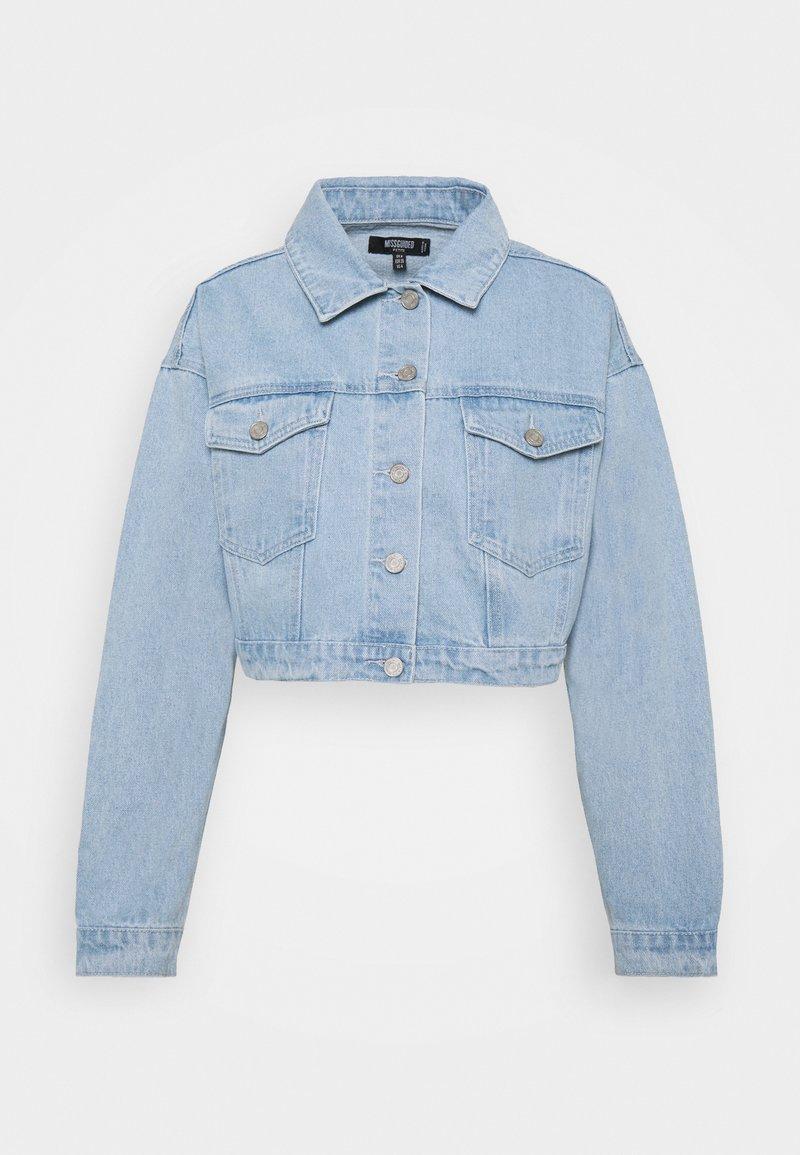 Missguided Petite - COLOURBLOCK CROP JACKET - Denim jacket - blue