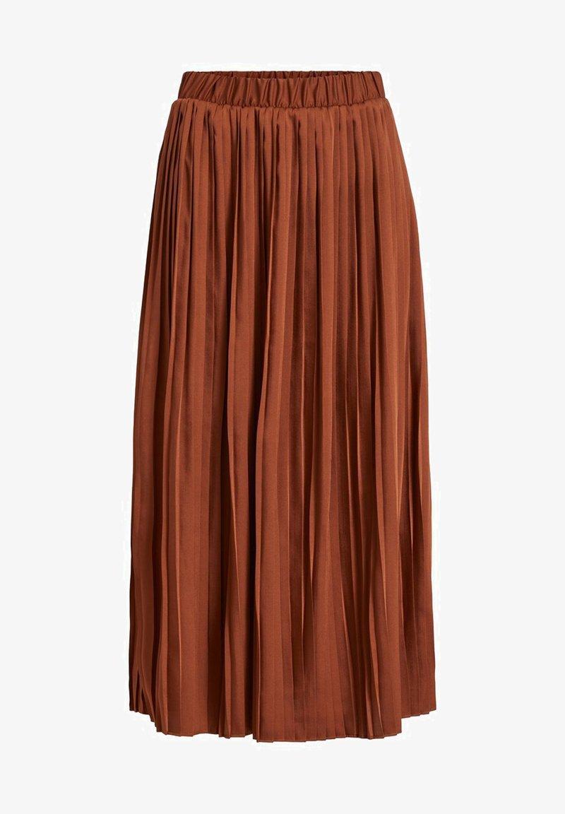 Vila - VISYLLA PLISSE HW MIDI SKIRT/SU - Pleated skirt - tobacco brown