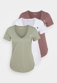 Abercrombie & Fitch - VNECK 3 PACK - Basic T-shirt - white/rose taupe/shadow - 0