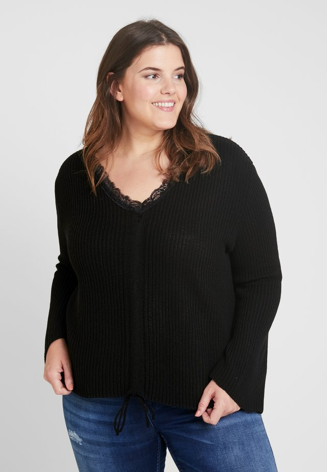 TRIM RUCHED FRONT JUMPER - Sweter - black
