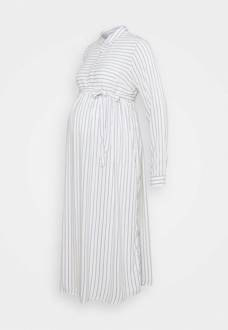 MAMALICIOUS - MLALANYA WOVEN MIDI DRESS  - Košilové šaty - snow white/stripes in crown blue