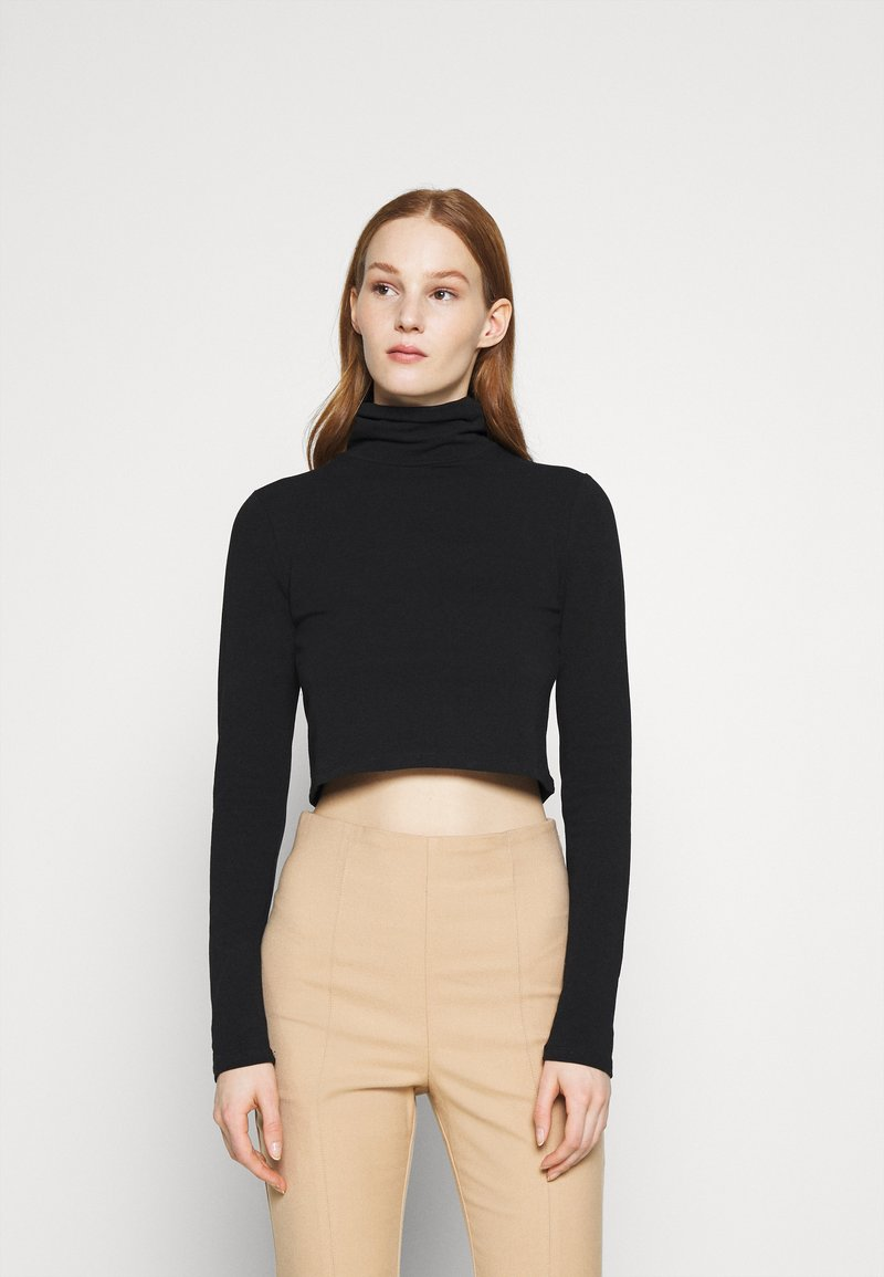 Cotton On - EVERYDAY CHOP MOCK NECK LONG SLEEVE - Long sleeved top - black